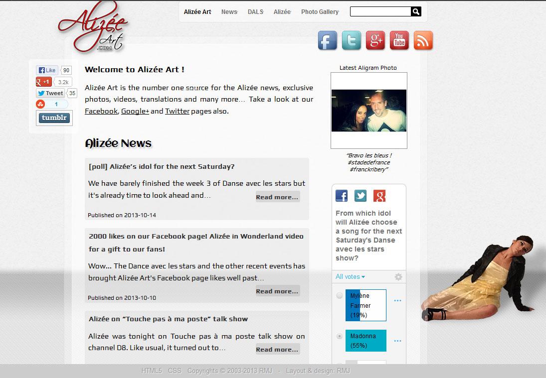 Alizée Art - front page